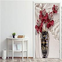 FGPXCD Adhesivos para Puertas Mural De Puerta 3D Flor De Florero Rojo Elegante Puerta Fotos De Póster Autoadhesivo Pegatin...