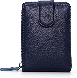 Leather Leather Driver's License Leather Case Leather Card Holder Zipper Wallet Multi-Function Driving License Waterproof (Color : Blue, Size : S)