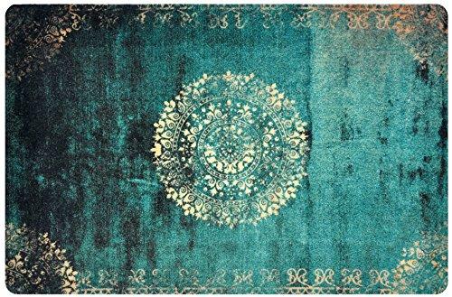 deco-mat Fußmatte Orient Grün • Fussmatte Innen Aussen • rutschfest und waschbar • Schmutzfangmatte • Türmatte 70 x 120 cm