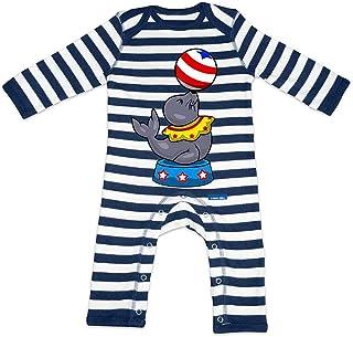HARIZ Baby Strampler Streifen Seelöwe Zirkus Tiere Kindergarten Plus Geschenkkarte Navy Blau/Washed Weiß 3-6 Monate