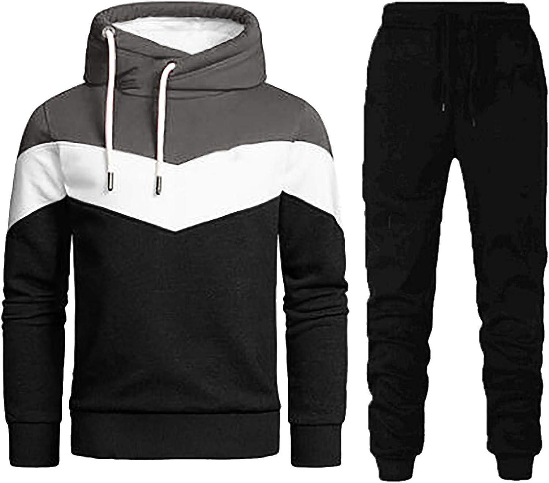 CHENQ Men's Hooded Spliced Sweatshirt Sweatpants Sports Leisure Fitness Suit