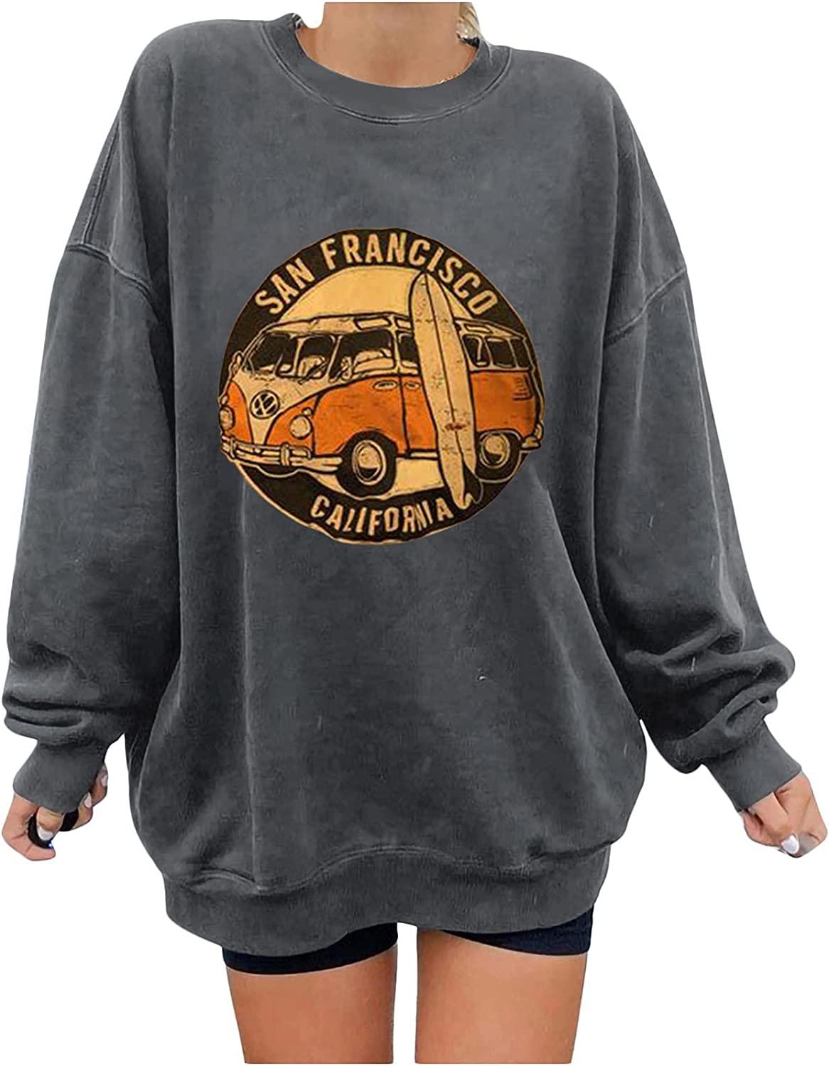 Kanzd Pullover Sweatshirts for Women Casual Loose Fit Trendy San Francisco Retro Car Graphic Long Sleeve Tops Blouse