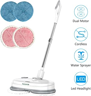 vmai Electric Mop, Cordless Electric Spin Mop, Hardwood Floor Cleaner with Built-in 300ml Water Tank, Polisher with Led Headlight and Sprayer, Scrubber for Hard Floor & Tile, Powerful Cleaner and Wax