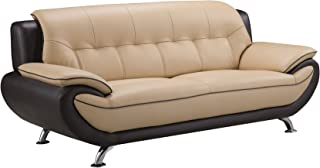 American Eagle Furniture Georgiana Collection Ultra Modern Living Room Leather Upholstered Sofa With Pillow Top Armrests and Tufting and Splayed Legs, Cream/Brown