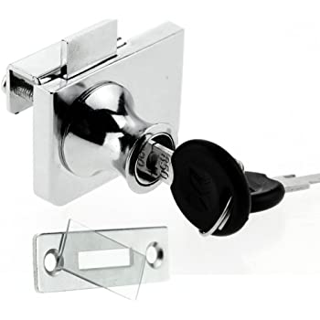 2 Pack Single Swing Glass Cabinet Showcase Door Lock Chrome Plated Display Glass Cabinet Lock Separate Key No Drilling Required 407