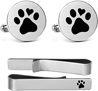 MUEEU Animal Cufflinks Pet Dog Cat Paw Print Round Cuf flink Tie Clips Engraved Personalized Gifts