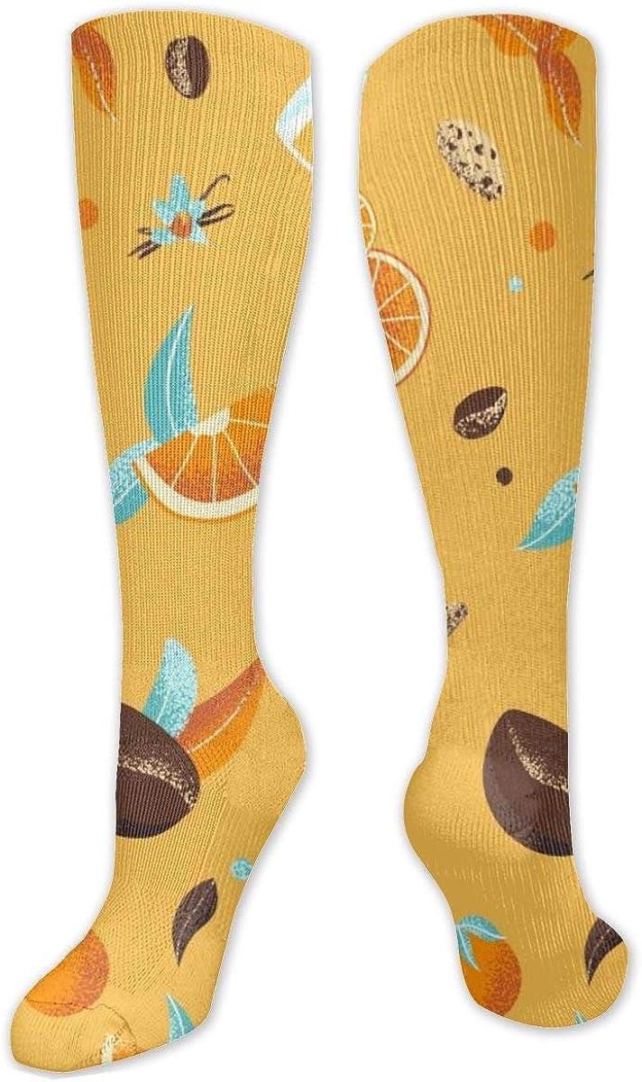 Orange Juice And Fruit Knee High Socks Leg Warmer Dresses Long Boot Stockings For Womens Cosplay Daily Wear