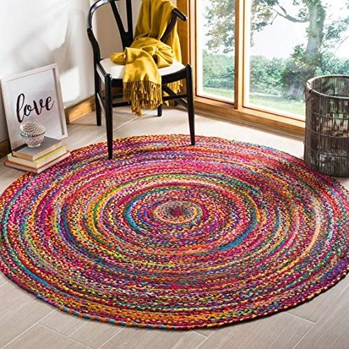 Virlok Home DicorBraided Cotton Round Carpet Rug for Living Room, Bedroom, Kitchen, Office Multicolor for Bedroom (60 cm Round) (60x60)