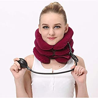 Inflatable Cervical Neck Traction Device Adjustable Neck Brace Support Neck Pain Relief Pillow for Decompression with Pump...