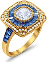 Blue Apple Co. Art Deco Wedding Engagement Antique Style Ring Baguette Round Cubic Zirconia 925 Sterling Silver Choose Color