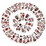 Joyjoz Tatuajes Temporales de Disfraz Halloween niña, niño, Mujer, Hombre, 48 Piezas Maquillaje Pegatinas de Cara Sangre Falsa para Decoraciones de Carnaval Fiesta de Cosplay