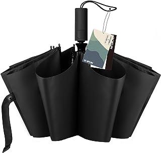 【最新進化版】BOIFUN 折りたたみ傘 ワンタッチ 自動開閉 300T高強度グラスファイバー 大きい 頑丈な10本骨 直径102cm 耐強風 超撥水 梅雨対策 台風対応 晴雨兼用 おりたたみ傘 ビッグサイズ メンズ レディース 男女兼用 傘カバー付き (ブラック)