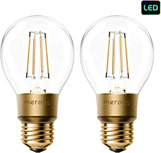 meross Smart Wi-Fi LED Bulb, Vintage Edison Style, Dimmable, 60W Equivalent, Compatible with Amazon Alexa, Google Assistant and IFTTT, E26 A19 Light Bulb, No Hub Required - 2 Pack