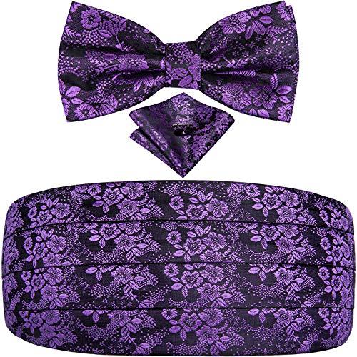 Dubulle Paisley Purple Floral Cummerbund with Bowtie Set Mens Cummerbund Pre-tied Bow Tie Handkerchief and Cummerbund Set Suit Tuxedo
