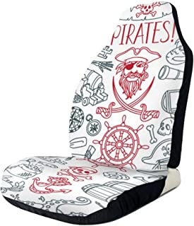 GZtaowen Universal Car Seat Covers,Colorful Cute Vehicle Seat Protector Car Mat Covers,Non Slip Backing Fit Cars, Sedan, Truck, SUV, Van(Pirates Themed )