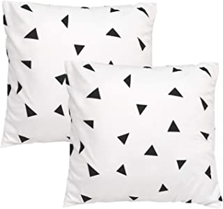 TEALP Euro Pillow Cover Black Geometric Triangles in White Square Pillow Cover 26x26 inch
