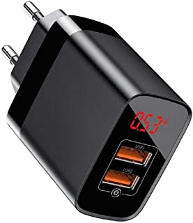 Carregador de Parede Baseus Mirror Lake com Monitor de Tensão e Potência Com Carga Rápida 3.0 2x USB 18W