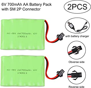 Crazepony-UK 2PCS Battery 6V 700mAh Ni-Mh Bateria SM 2P Plug Connector with USB Charging Cable for Remote Control RC Cars Vehicles