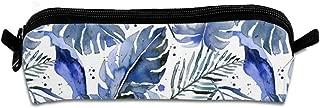 Tropical Plants in Indigo Students Canvas Pencil Case Pen Bag Pouch Stationary Case Makeup Cosmetic Bag 21 X 5.5 X 5 cm