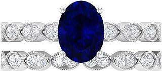 Juego de anillos de boda, 8 x 6 mm, anillo de compromiso ovalado solitario, anillo de compromiso D-VSSI Moissanita eternid...