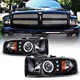 ACANII - For 1994-2001 Dodge Ram 1500 2500 3500 LED Halo Ring Black Housing Projector Headlights Headlamps Assembly