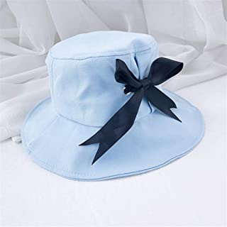 OULUOBA Japanese big brimmed ribbon bow fisherman hat female spring and summer cotton sun hat fashion simple collapsible bucket hats (Color : Light blue, Size : One size)
