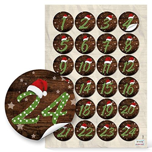 Adventskalendergetallen 1 tot 24 cijfers stickers MÜTZE SANTA rood groen gestippeld voor kinderen stickers adventskalender knutselen 4 cm kerstkalender met papieren zakken zelf nummersticker