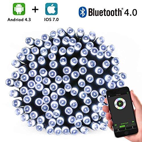 Brizled LED Lichterkette Bluetooth, 20m, 200LED, mit Adapter, 16 Funktionen, Durch Musik Kontrollierbar, Timer, ¨¹ber IOS/Android HandyApp Steuerbar, Deko f¨¹r Weihnachten. (wei?)£¨Modell:GVBL200£©