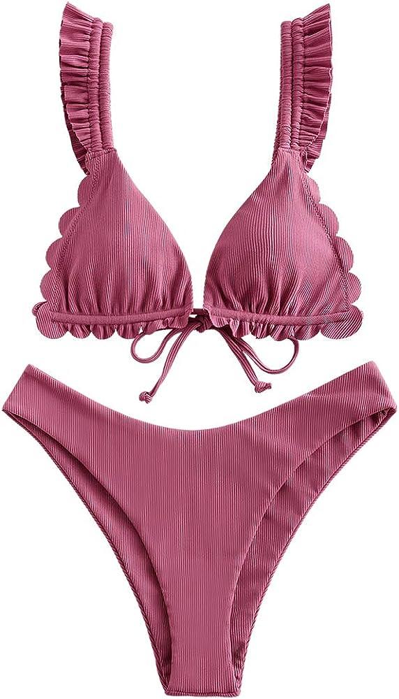 ZAFUL Women's Spaghetti Strap Tie Back Ruffle Triangle Bikini Set Swimsuit