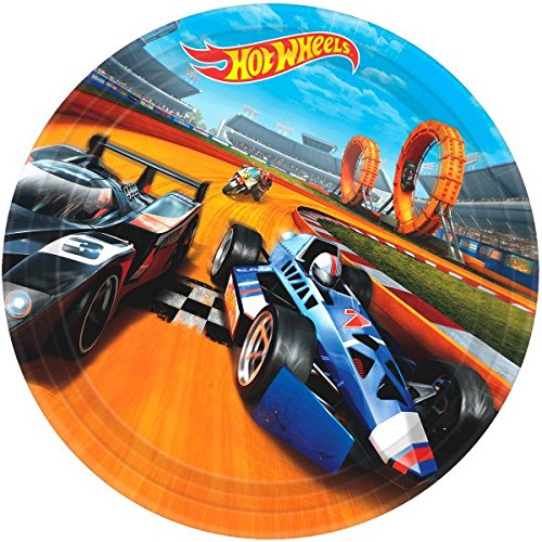 Amscan 551551 Hot Wheels Wild Racer Round Plates, 9', 8pcs, Party Favor