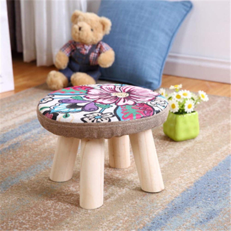 Round Footstool Wooden Legs,Modern Simple Upholstered Stool Lightweight Footrest-U 28x20cm(11x8inch)