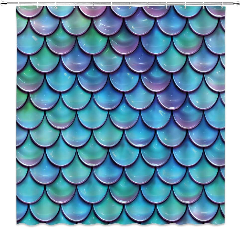 Mermaid Scales Shower Curtain Rapid rise Blue Glare scales Fish Ocea wholesale Purple