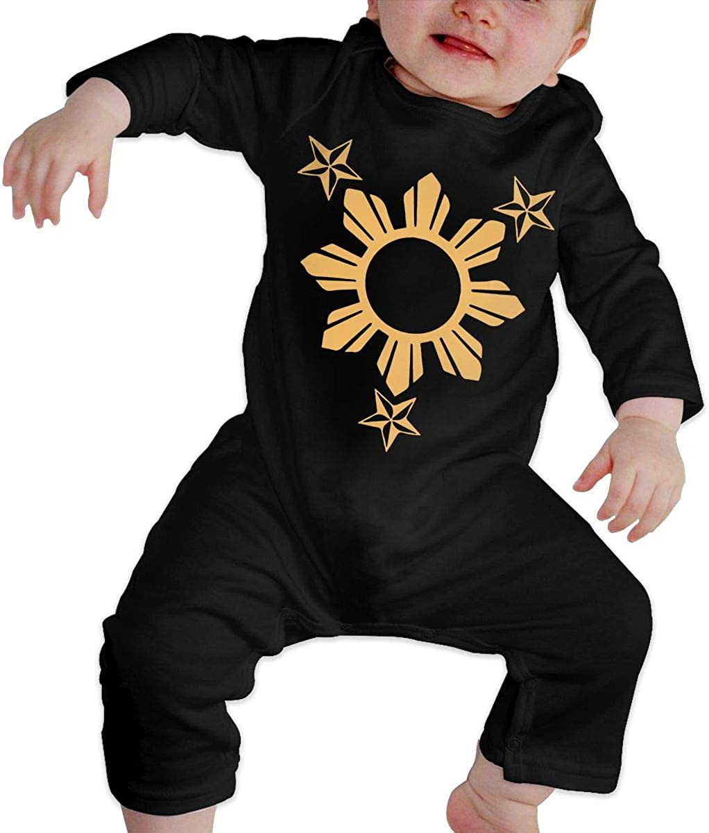 Love Philippines National Flag Unisex Baby Bodysuit Infant Cotton Outfits Long Sleeve Jumpsuit