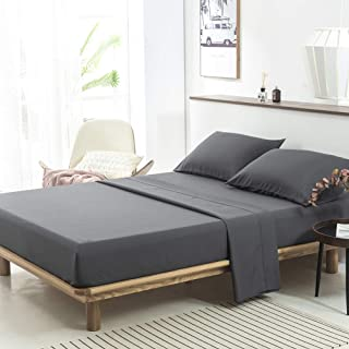 PY Home & Sports Bed Sheets Set Microfiber Soft 4 Piece with Deep Pocket Sheet Set, Queen, Gray