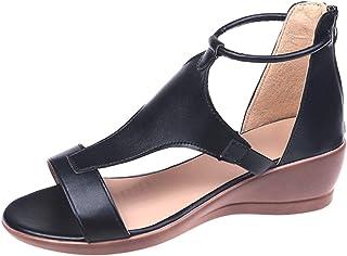 Geilisungren Damen Sandalen Keilabsatz Schuhe Sommerschuhe Sommer Offene Slippers Faux Leder Pantoffeln Low Heel Bequeme r...