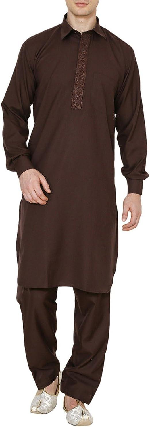 ROYAL Kurta Mens India Traditonal Linen Pathani Suit