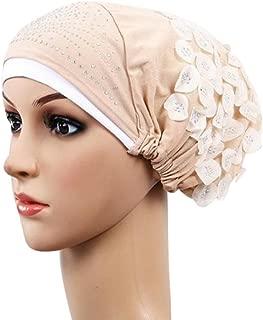Botrong Women Muslim Stretch Turban Hat Chemo Cap Hair Loss Head Scarf Wrap Hijib Cap (Beige)