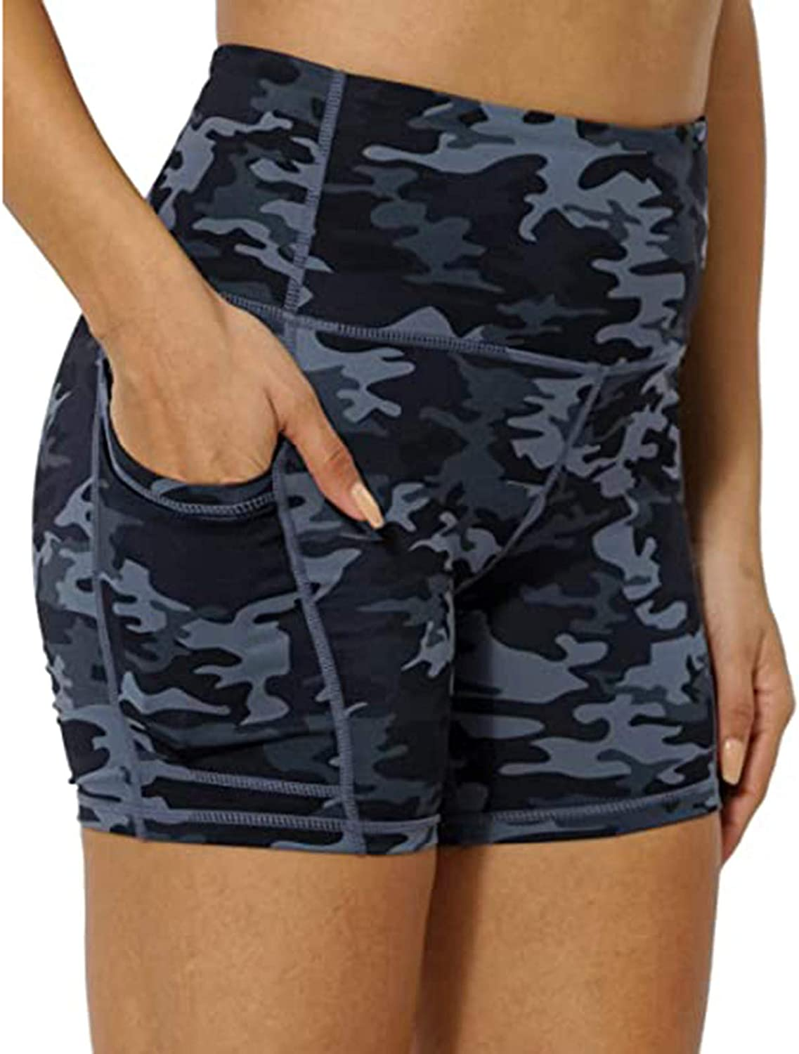 Wocachi High Waist Yoga Shorts for Women, Camouflage Tummy Control Shorts Workout Compression Shorts with Pockets