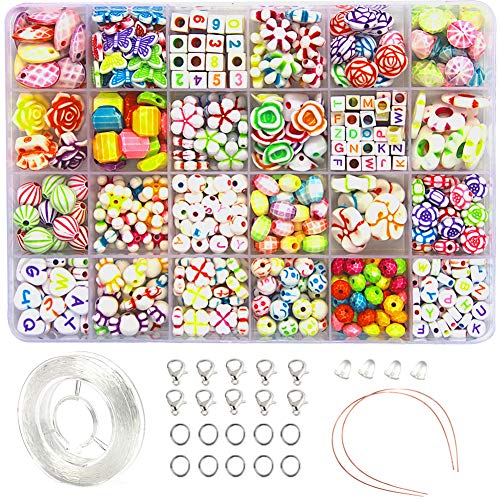 Ewparts 24 In 1 Brief Perlen Set für Schmuck Machen, Handwerk DIY Halskette Armbänder Brief Alphabet Bunte Acryl Crafting Perlen Kit (#1)