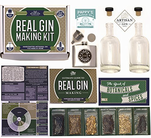 Real Homemade Gin Kit & Stainless Steel Personalized Flask, For Making Delicious Martinis, Gin...