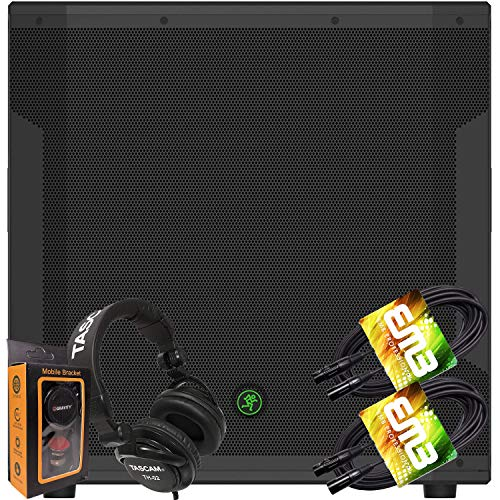 """Mackie SRM1850 1600W 18"""" Powered Subwoofer with Variable Crossover and SmartProtect Limiting + Pro Headphone with Pair of EMB XLR Cable and Gravity Magnet Phone Holder Bundle TH02 (2)+M"""