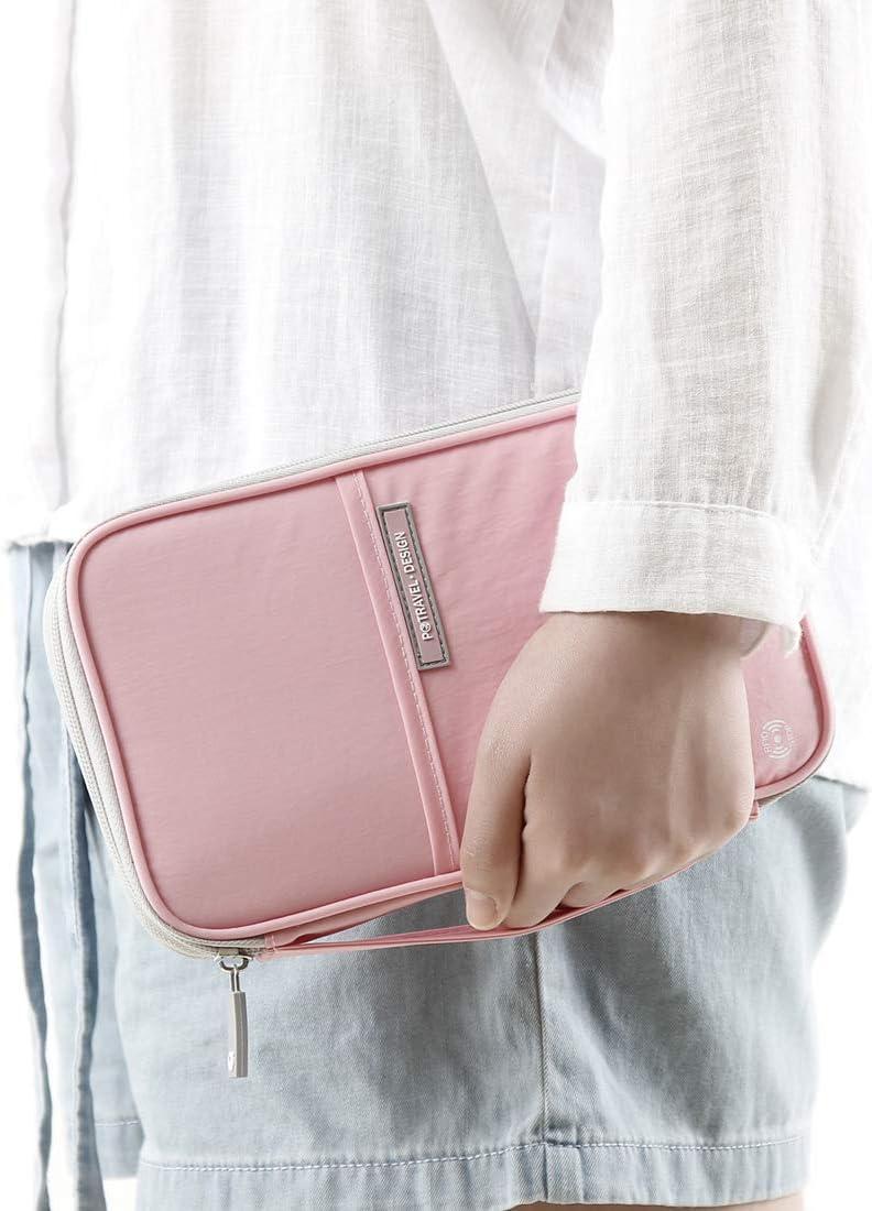 RFID Blocking Credit Card Wallet For Men /& Women Passport Wallet RFID Family Travel Passport Holder With Hand Strap by VanFn P.Travel Series Trip Document Organizer Fits Phone And Tickets Pink