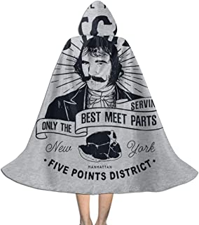 Bill The Butcher Gangs of New York Unisex Kids Hooded Cloak Cape Halloween Xmas Party Decoration Role Cosplay Costumes Black