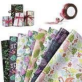 Jolintek Geschenkpapier, 8 Blatt Geschenkpapier Geburtstag Tropisches Flamingo Geschenkpapier Gefaltete für Geschenk Weihnachten Hochzeit Valentines Geschenkverpackung Geburtstag, 74x52 cm