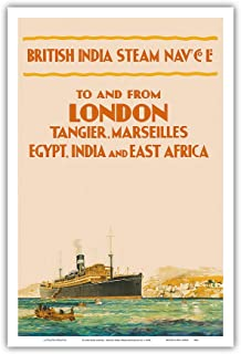 Pacifica Island Art To and From London - British India Steam Navigation Co. - Tangier Marseilles Egypt India East Africa - Vintage Ocean Liner Travel Poster c.1910s - Master Art Print - 12in x 18in