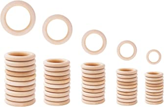 Mandala Crafts Unfinished Natural Wood Rings Kit for Crafts, Macramé, Knitting, Wooden Jewelry Making, Pack of 50 (Natural, 1.2 1.5 2 2.3 2.75 Inches)