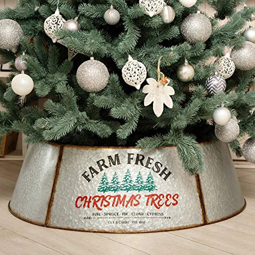 Hallops Galvanized Tree Collar - 36' Extra Large & Tall (Oversized). Adjustable Size. Metal Skirt, Christmas Tree Decor