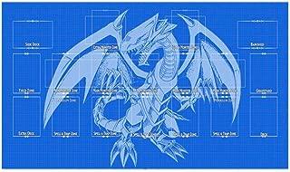 AArt TM Yugioh Blueprint Template 2017 Master Rule 4 Link Zone Playmat - Blue Eyes Dragon TCG Playmat - Magic The Gathering Playmat - MTG Playmat - TCG Playmat - Yugioh Duel Playmat, Gaming Playmat