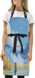 YIXKC Apron Clouds Mountain Anime Adjustable Neck with 2 Pockets Bib Apron for Family/Kitchen/Chef/Unisex
