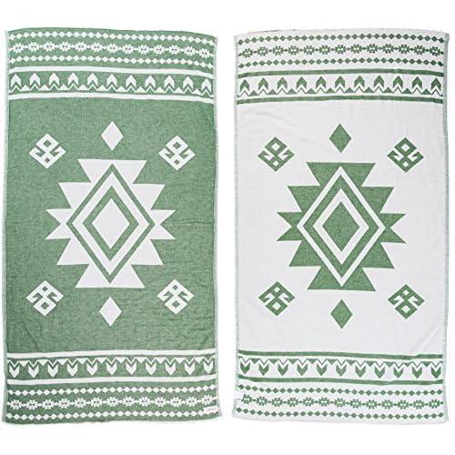 Bersuse - Asciugamano turco Uxmal in 100% cotone, 94 x 177 cm, colore: Verde bosco